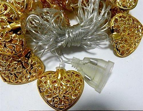 Гирлянды с золотыми сердцами Golden