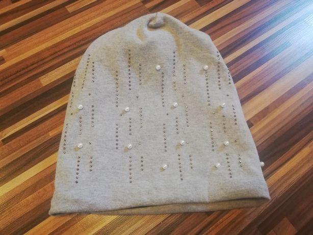 Nowa czapka szara cekiny ciepła jak alpaka perełki cekiny