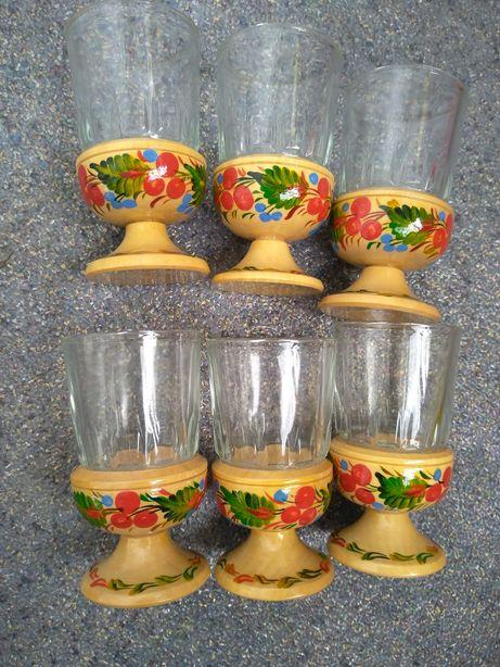 Рюмки стопки бокалы петриковская роспись посуда ссср