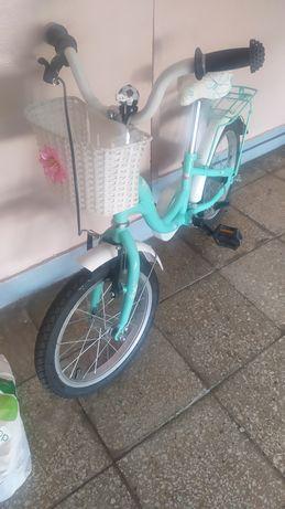 Rowerek dla dziewczynki 16'  , kółka boczne w komplecie