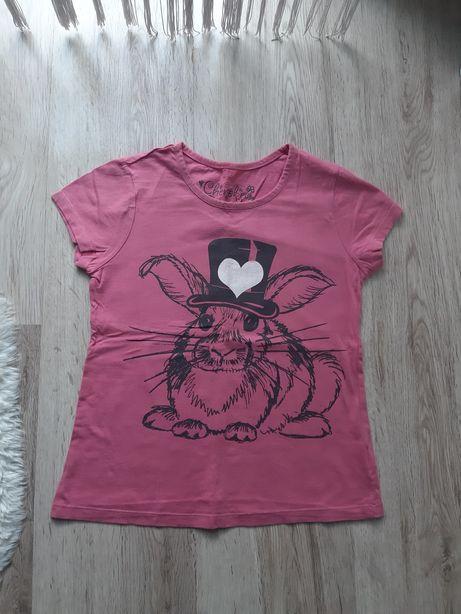 Różowa bluzka dziewczęca z krótkim rękawem