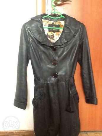 Осенний кожаный плащ, куртка, кожанка