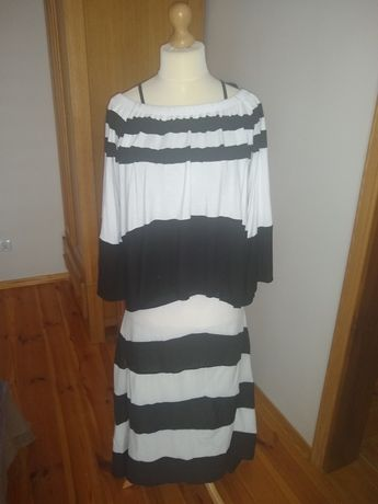 Przepiękna sukienka + bluzka w pasy biało czarne