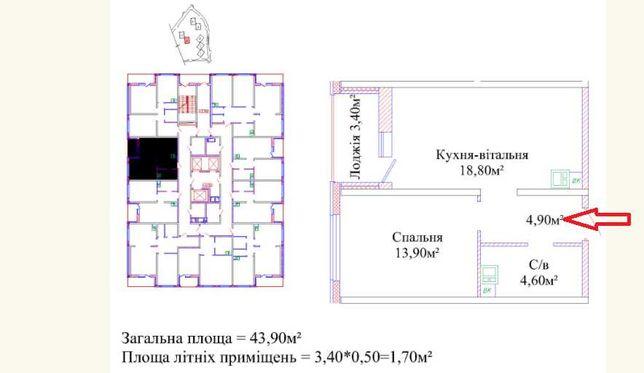 1-но комнатная квартира в Киевском районе, w