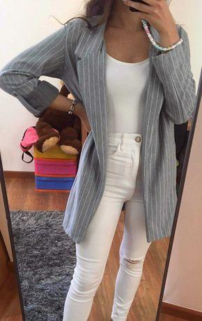 Blazer cinzento e branco