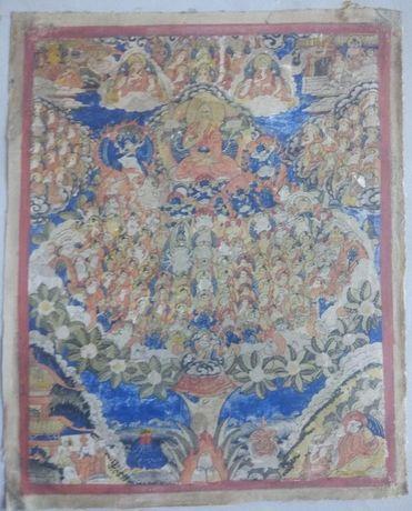 Tybetańska tanka miniaturowa Tysiąca Budd. 19 wiek