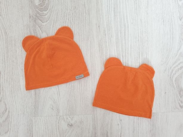 Czapki czapeczki bliźniaki 2szt handmade 74/80 nowe