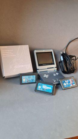 Game Boy Advancd Sp com caixa + Carregador e 3 jogos