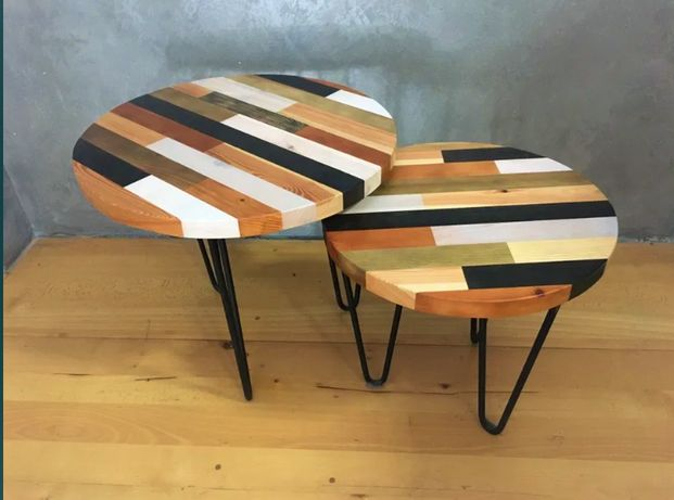 Komplet dwóch stoliczków/ław z litego drewna