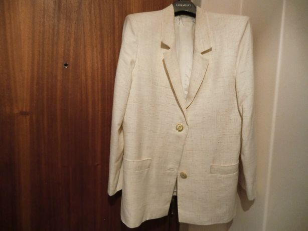 Casaco branco de verão, tamanho médio, feito por medida na costureira