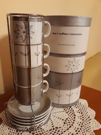 Filiżanki z talerzykami do herbaty, kawy i czekolady w stojaku - 4+4