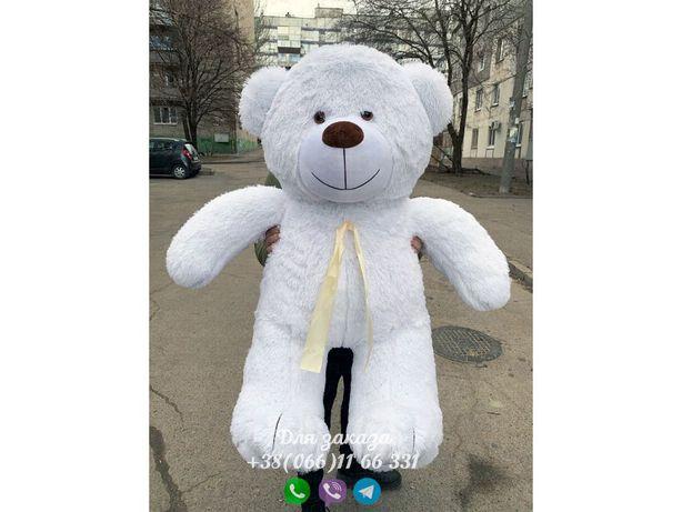 Плюшевый мишка белый 130 см.Мягкая игрушка.Купить мишку.Медведь