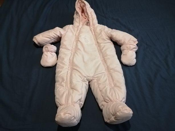 Kombinezon zimowy dla dziecka C&A Baby Club rozm. 74 Różowy+rękawiczki