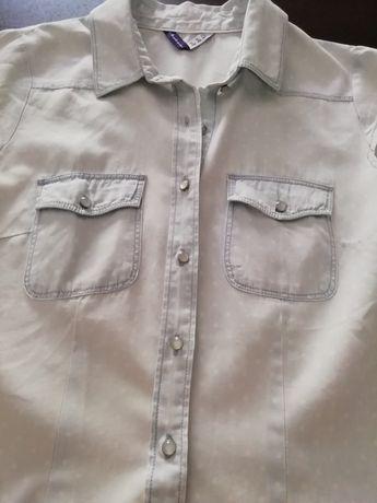 Camisa ganga alças azul com pintas brancas