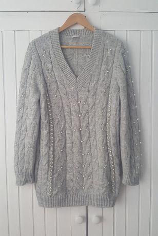 Gruby Pleciony Szary Sweterek Perełki Szpic, Orsay