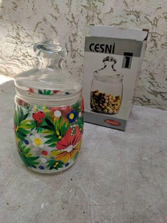 Стеклянная банка Cesni ёмкость для сыпучих стекло ручная роспись