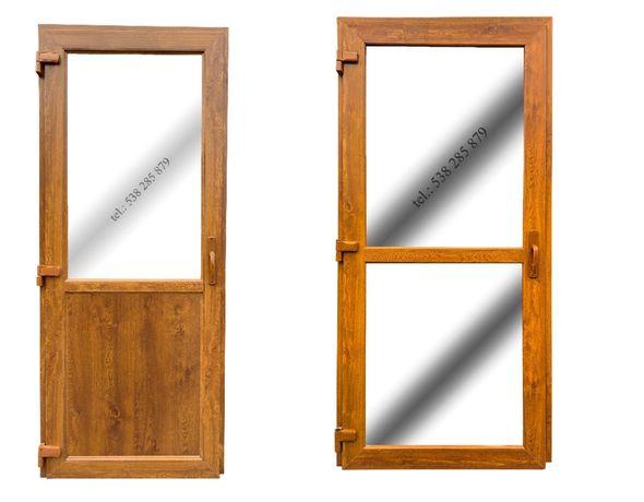 Drzwi zewnętrzne PCV 100x210 złoty dąb NOWE! OD REKI sklepowe biurowe