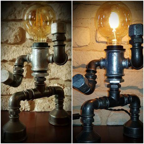 Lampka nocna z kształtek hydraulicznych, loft, vintage