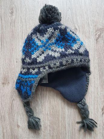 Zimowa wełniana czapka ocieplana 4-8 lat
