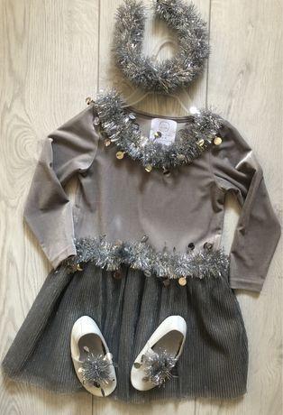 Платье снежинка для девочки
