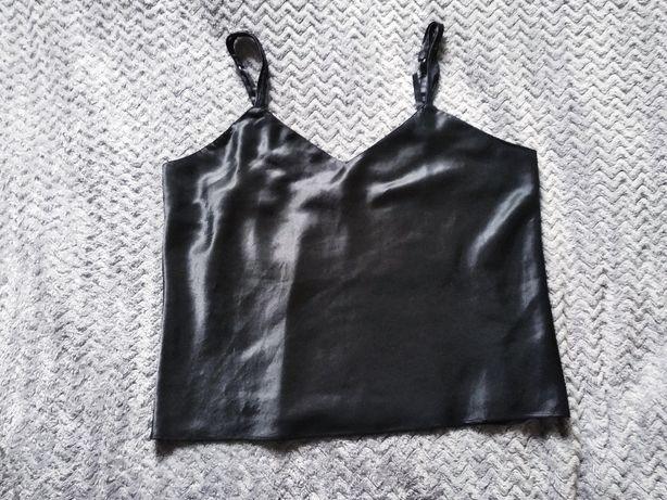 % WYPRZEDAŻ SZAFY czarny satynowy top koszulka M L