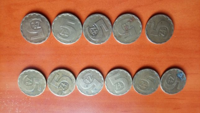 Moneta obiegowa 5 złotych 1976, 1980, 1983, 1984, 1986, 1987