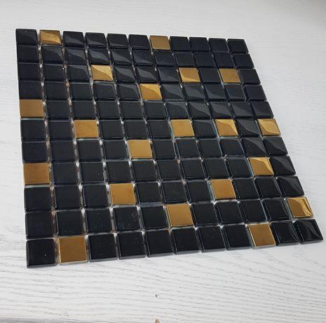 nowa szklana mozaika czarno złota 2szt 30x30