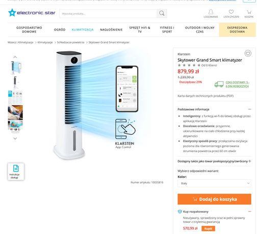 Skytower Grand Smart Schładzacz Powietrza Klimator NOWY - 30% ceny!
