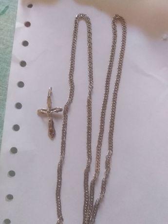 Серебряная цепочка с подвеской крест