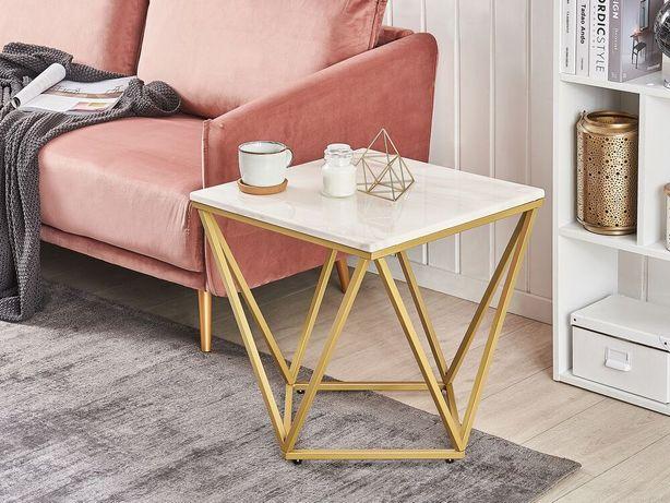 Mesa de apoio com efeito de mármore branco e pés dourados MALIBU - Beliani
