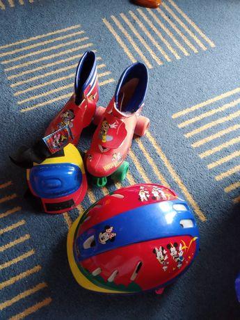 """Patins de criança """"Mickey"""", com capacete"""