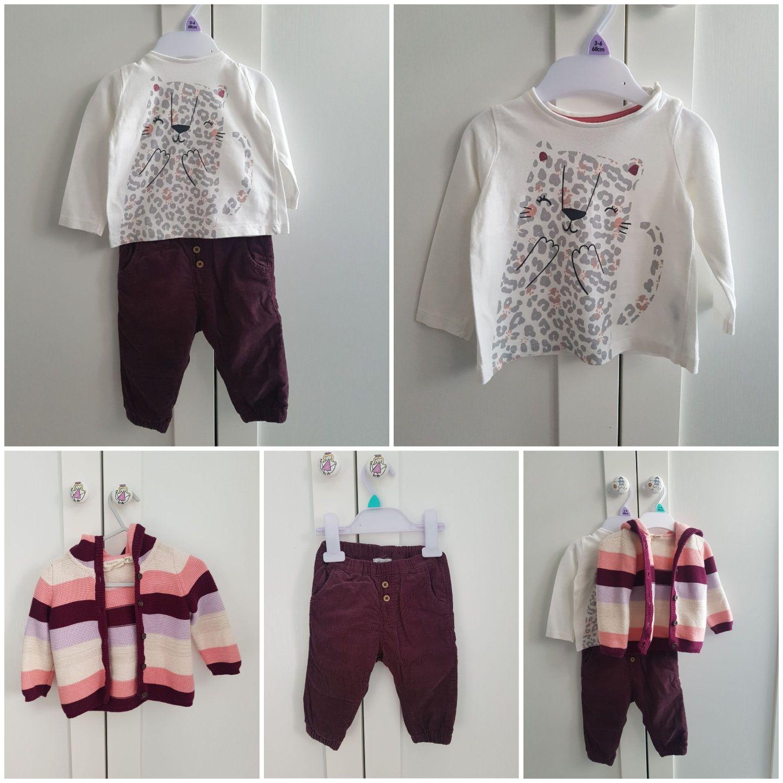 Ubranka dla dziewczynki spodnie newbie z podszewką sweterek bluzeczka