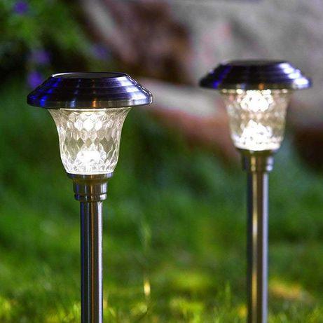 LAMPA Solarna Ogrodowa LED Biała Wbijana 52cm LATARNIA