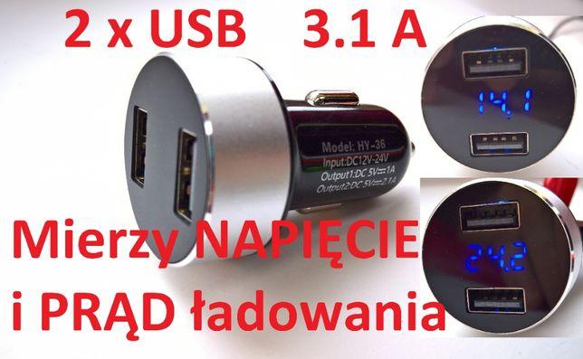 Ładowarka 2 x USB 3.1 A Quick Charge Szybkie Ładowanie 12V 24V 2.1A 1A