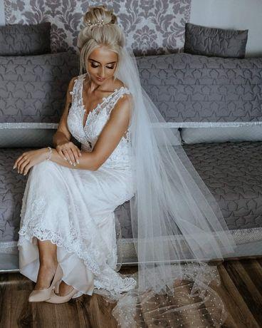 Wyjątkowa suknia ślubna syrenka xs ecru