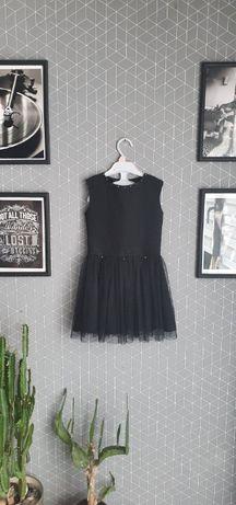 Elegancka czarna sukienka dla dziewczynki stan idealny 116