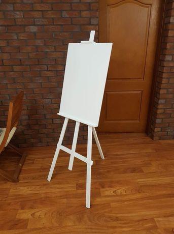 Drewniana ślubna biala sztaluga ( lista gości plan stołów wesele )
