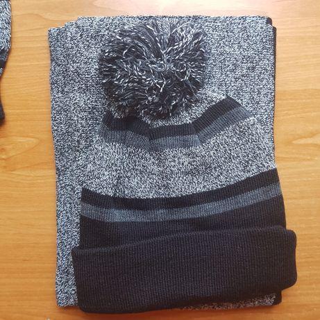 Nowy zestaw zimowy Yourturn czapka, szalik, rękawiczki szary One size