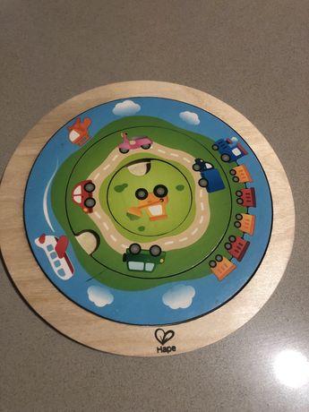 Puzzle madeira montessoriano e brinquedo musical chicco passeio