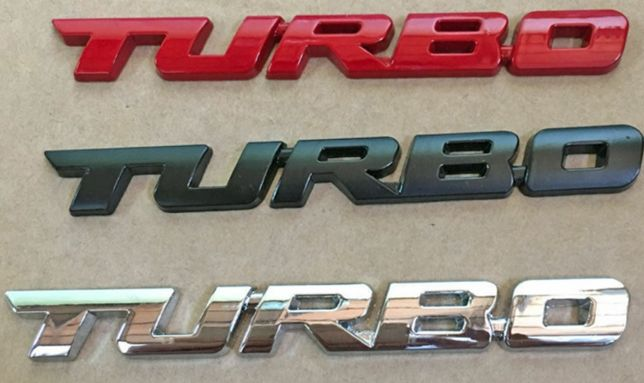 NOWY emblemat TURBO przyklejany znaczek logo METAL 2 wymiary 3 kolory
