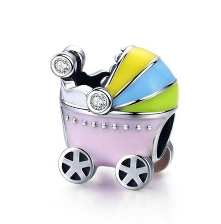 Charms PANDORA srebro 925 wózek dla dziecka emalia kolorowy cyrkonie