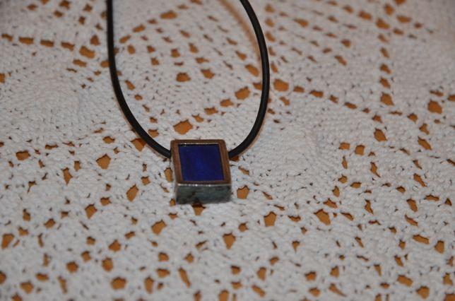 Naszyjnik i zawieszka z lapis lazuli srebro 925, stara biżuteria