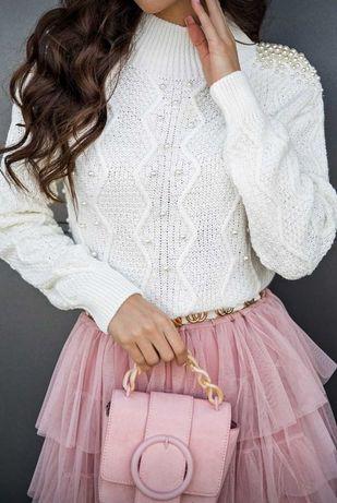 Sweterek swetr bluzka perły perełki !!! Cudowny świetna cena 68zł