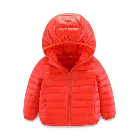 Детская демисезонная пуховая куртка синяя красная 90-130 размер