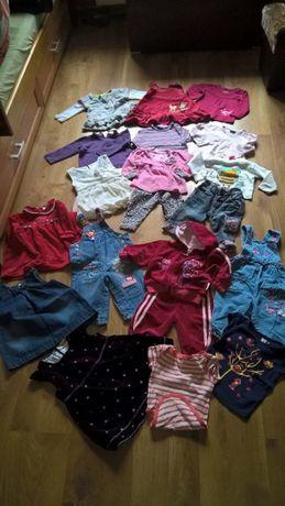 paka zadbanych ubranek 19szt 68-74 sukienka spodnie dres bluzeczki