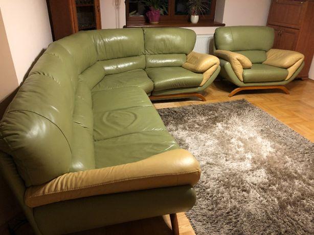 Narożnik skórzany z fotelem
