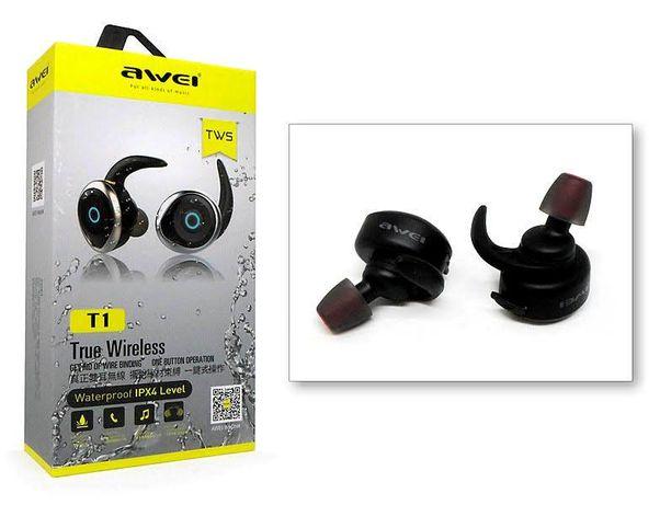 Беспроводные блютуз наушники AWEI T1 идеальный звук + влагозащита Авей