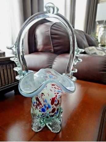 Винтажная ваза корзина муранское стекло