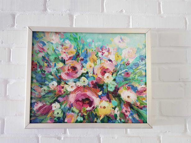 Картина цветы абстракция масло живопись 40х50см
