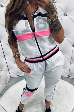 Elegancki komplet dres bluza spodnie neon S M L